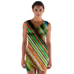 Colorful Stripe Extrude Background Wrap Front Bodycon Dress