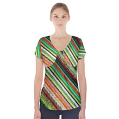 Colorful Stripe Extrude Background Short Sleeve Front Detail Top