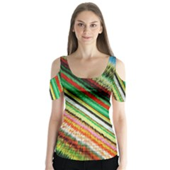 Colorful Stripe Extrude Background Butterfly Sleeve Cutout Tee