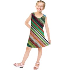 Colorful Stripe Extrude Background Kids  Tunic Dress