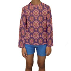 Abstract Seamless Mandala Background Pattern Kids  Long Sleeve Swimwear