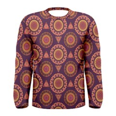 Abstract Seamless Mandala Background Pattern Men s Long Sleeve Tee