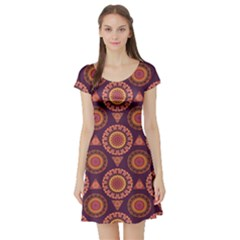 Abstract Seamless Mandala Background Pattern Short Sleeve Skater Dress