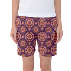 Abstract Seamless Mandala Background Pattern Women s Basketball Shorts