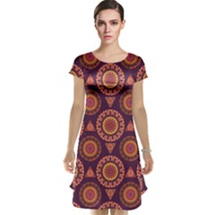 Abstract Seamless Mandala Background Pattern Cap Sleeve Nightdress