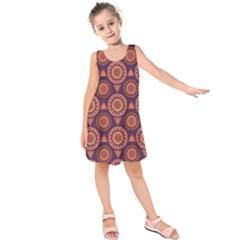 Abstract Seamless Mandala Background Pattern Kids  Sleeveless Dress