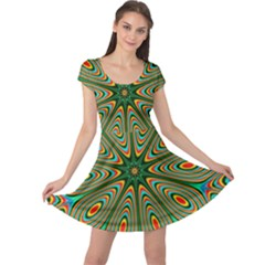 Vibrant Seamless Pattern  Colorful Cap Sleeve Dresses