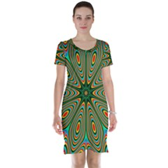 Vibrant Seamless Pattern  Colorful Short Sleeve Nightdress