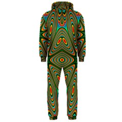 Vibrant Seamless Pattern  Colorful Hooded Jumpsuit (Men)