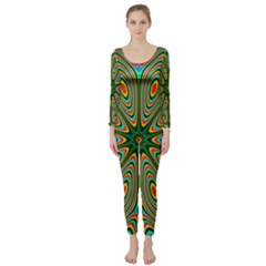 Vibrant Seamless Pattern  Colorful Long Sleeve Catsuit