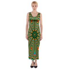 Vibrant Seamless Pattern  Colorful Fitted Maxi Dress