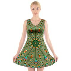 Vibrant Seamless Pattern  Colorful V-Neck Sleeveless Skater Dress