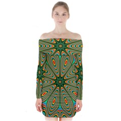 Vibrant Seamless Pattern  Colorful Long Sleeve Off Shoulder Dress