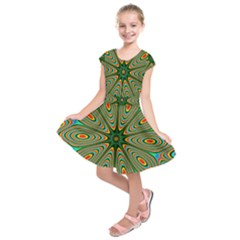 Vibrant Seamless Pattern  Colorful Kids  Short Sleeve Dress
