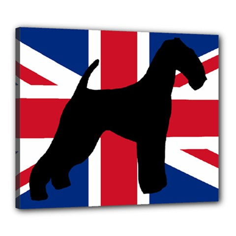airedale terrier silhouette on flag Canvas 24  x 20