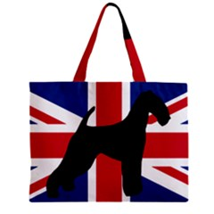 airedale terrier silhouette on flag Zipper Mini Tote Bag