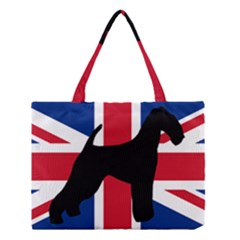 airedale terrier silhouette on flag Medium Tote Bag
