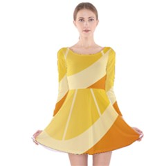 Orange Lime Yellow Fruit Fress Long Sleeve Velvet Skater Dress