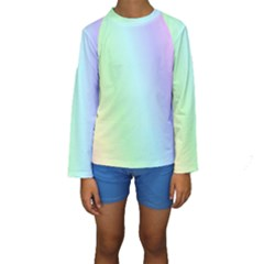 Multi Color Pastel Background Kids  Long Sleeve Swimwear