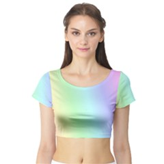 Multi Color Pastel Background Short Sleeve Crop Top (Tight Fit)
