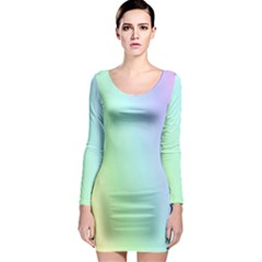 Multi Color Pastel Background Long Sleeve Bodycon Dress