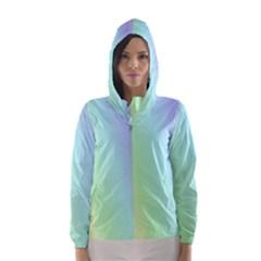 Multi Color Pastel Background Hooded Wind Breaker (women)