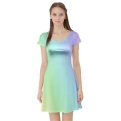 Multi Color Pastel Background Short Sleeve Skater Dress