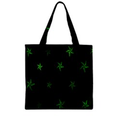 Nautical Star Green Space Light Zipper Grocery Tote Bag
