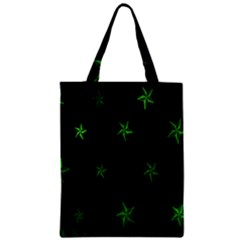 Nautical Star Green Space Light Zipper Classic Tote Bag