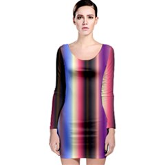 Multi Color Vertical Background Long Sleeve Bodycon Dress