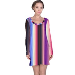 Multi Color Vertical Background Long Sleeve Nightdress