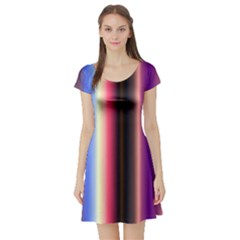 Multi Color Vertical Background Short Sleeve Skater Dress