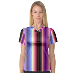 Multi Color Vertical Background Women s V-Neck Sport Mesh Tee