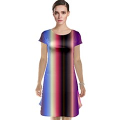 Multi Color Vertical Background Cap Sleeve Nightdress