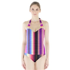Multi Color Vertical Background Halter Swimsuit