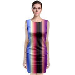 Multi Color Vertical Background Classic Sleeveless Midi Dress