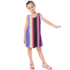 Multi Color Vertical Background Kids  Sleeveless Dress