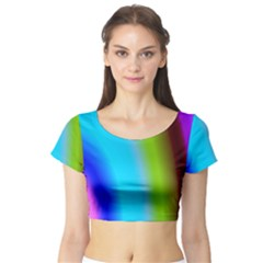 Multi Color Stones Wall Multi Radiant Short Sleeve Crop Top (Tight Fit)
