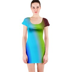 Multi Color Stones Wall Multi Radiant Short Sleeve Bodycon Dress
