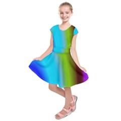 Multi Color Stones Wall Multi Radiant Kids  Short Sleeve Dress
