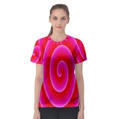 Pink Hypnotic Background Women s Sport Mesh Tee