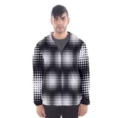 Black And White Modern Wallpaper Hooded Wind Breaker (Men)