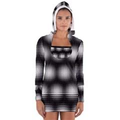 Black And White Modern Wallpaper Women s Long Sleeve Hooded T-shirt