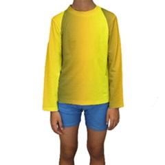 Yellow Gradient Background Kids  Long Sleeve Swimwear