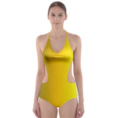 Yellow Gradient Background Cut-Out One Piece Swimsuit