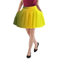 Yellow Gradient Background A-Line Pocket Skirt