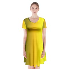 Yellow Gradient Background Short Sleeve V-neck Flare Dress