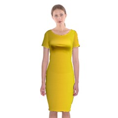 Yellow Gradient Background Classic Short Sleeve Midi Dress