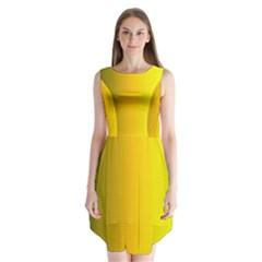 Yellow Gradient Background Sleeveless Chiffon Dress