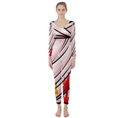 Petal Pattern Dress Flower Long Sleeve Catsuit